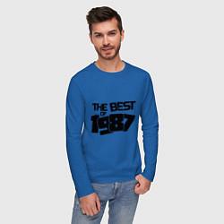 Лонгслив хлопковый мужской The best of 1987 цвета синий — фото 2