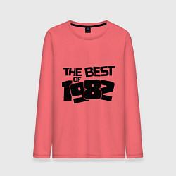 Лонгслив хлопковый мужской The best of 1982 цвета коралловый — фото 1