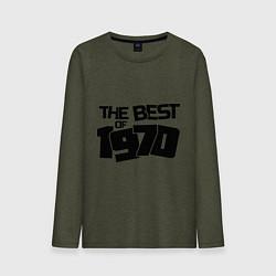 Лонгслив хлопковый мужской The best of 1970 цвета меланж-хаки — фото 1