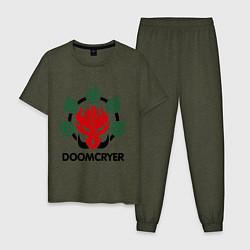 Пижама хлопковая мужская Orc Mage - Doomcryer цвета меланж-хаки — фото 1