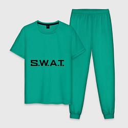 Пижама хлопковая мужская S.W.A.T цвета зеленый — фото 1