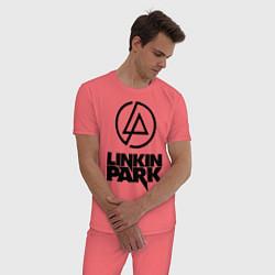 Пижама хлопковая мужская Linkin Park цвета коралловый — фото 2
