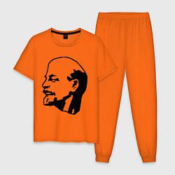 Пижама хлопковая мужская Ленин: скульптура цвета оранжевый — фото 1