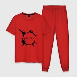 Пижама хлопковая мужская Heroes spot цвета красный — фото 1
