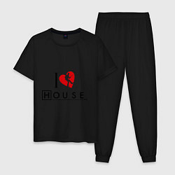Пижама хлопковая мужская I love House MD цвета черный — фото 1