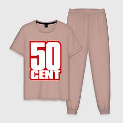 Пижама хлопковая мужская 50 cent цвета пыльно-розовый — фото 1