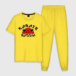 Пижама хлопковая мужская Karate Russia цвета желтый — фото 1