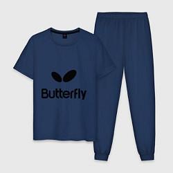 Пижама хлопковая мужская Butterfly Logo цвета тёмно-синий — фото 1