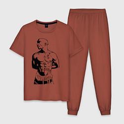 Пижама хлопковая мужская 2pac цвета кирпичный — фото 1