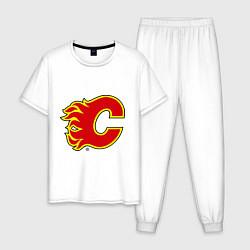 Пижама хлопковая мужская Calgary Flames цвета белый — фото 1