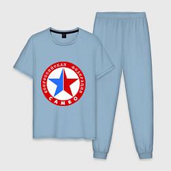 Пижама хлопковая мужская Федерация САМБО цвета мягкое небо — фото 1