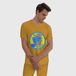 Пижама хлопковая мужская St.luis blues цвета горчичный — фото 2
