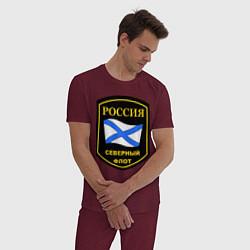 Пижама хлопковая мужская Северный флот цвета меланж-бордовый — фото 2