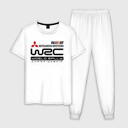 Пижама хлопковая мужская Mitsubishi wrc цвета белый — фото 1
