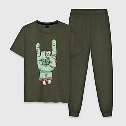 Пижама хлопковая мужская Zombie Rock Hand цвета меланж-хаки — фото 1