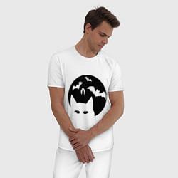 Пижама хлопковая мужская Луна с котами цвета белый — фото 2