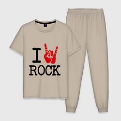 Пижама хлопковая мужская I love rock цвета миндальный — фото 1