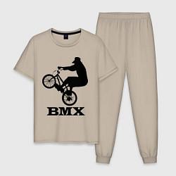 Пижама хлопковая мужская BMX цвета миндальный — фото 1