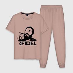 Пижама хлопковая мужская FIdel цвета пыльно-розовый — фото 1