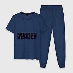 Пижама хлопковая мужская Markus Schulz цвета тёмно-синий — фото 1