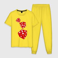 Пижама хлопковая мужская Игральные кости цвета желтый — фото 1