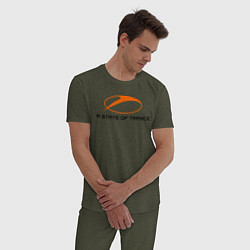 Пижама хлопковая мужская A State of Trance цвета меланж-хаки — фото 2