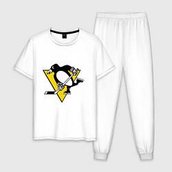 Пижама хлопковая мужская Pittsburgh Penguins: Malkin 71 цвета белый — фото 1