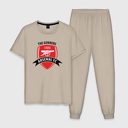Пижама хлопковая мужская FC Arsenal: The Gunners цвета миндальный — фото 1