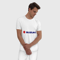 Пижама хлопковая мужская Suzuki цвета белый — фото 2
