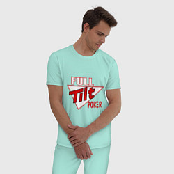 Пижама хлопковая мужская Full Tilt Poker цвета мятный — фото 2