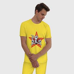 Пижама хлопковая мужская World freedom famous цвета желтый — фото 2