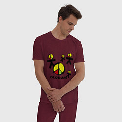 Пижама хлопковая мужская Olodum цвета меланж-бордовый — фото 2