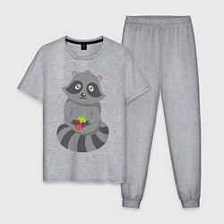Пижама хлопковая мужская Енотик с клубникой цвета меланж — фото 1