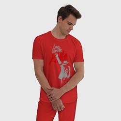 Пижама хлопковая мужская Майкл Джексон - Long live the King цвета красный — фото 2