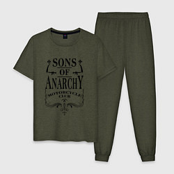 Пижама хлопковая мужская Anarchy Motorcycle Club цвета меланж-хаки — фото 1