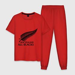 Пижама хлопковая мужская New Zeland: All blacks цвета красный — фото 1