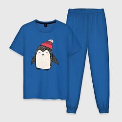 Пижама хлопковая мужская Зимний пингвин-мальчик цвета синий — фото 1