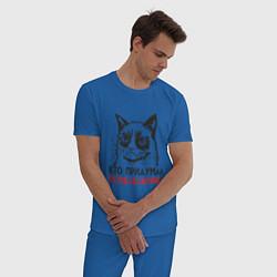 Пижама хлопковая мужская Кто придумал понедельник? цвета синий — фото 2