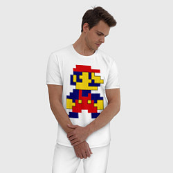 Пижама хлопковая мужская Pixel Mario цвета белый — фото 2