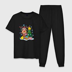 Пижама хлопковая мужская Олень под елкой цвета черный — фото 1