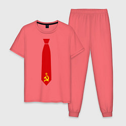 Пижама хлопковая мужская Советский галстук цвета коралловый — фото 1