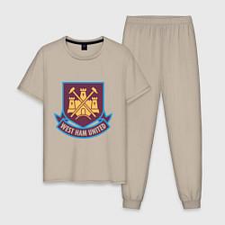 Пижама хлопковая мужская West Ham United цвета миндальный — фото 1
