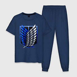 Пижама хлопковая мужская Attack on titan цвета тёмно-синий — фото 1