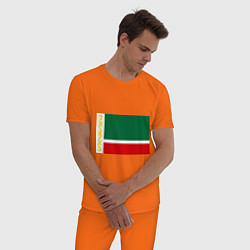 Пижама хлопковая мужская Чечня: флаг цвета оранжевый — фото 2