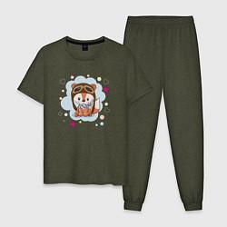 Пижама хлопковая мужская Лисёнок-пилот цвета меланж-хаки — фото 1