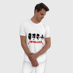 Пижама хлопковая мужская Metallica (Лица) цвета белый — фото 2