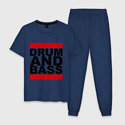 Пижама хлопковая мужская Drum and bass цвета тёмно-синий — фото 1