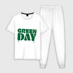 Пижама хлопковая мужская Green Day цвета белый — фото 1