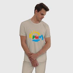Пижама хлопковая мужская Крым цвета миндальный — фото 2