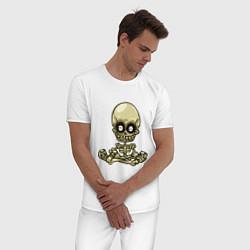 Пижама хлопковая мужская Медитация цвета белый — фото 2